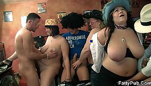Curvy tattoed whore and her guy have steamy group orgy
