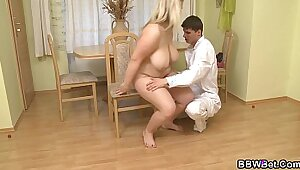 Big tittied babe plowed by fat cock