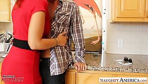 Mom over ovody mixed race in kitchen