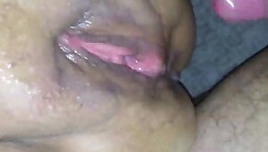 Hot jizz on her wet pussy