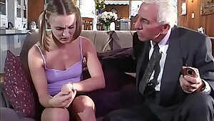 Young girl gets anal fucked by old couple
