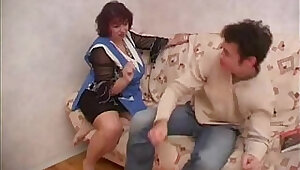 Plump Russian mom fucks friend