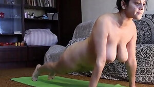 Saggy tits and naked yoga