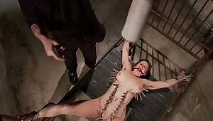 Tied up bdsm whore gets wax over her while bound