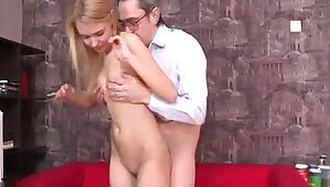 Kinky teacher gets hold of blonde teen student