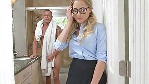 Sneaky Horny School Girl Avalon Heart Giving Her Dad