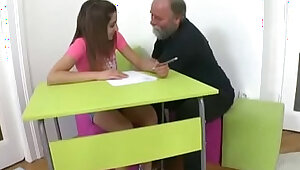 Tricky Old Teacher Ulia is a sexy young student who is having school trouble
