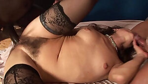 Milf with hairy pussy and two guys... anal and double penetration