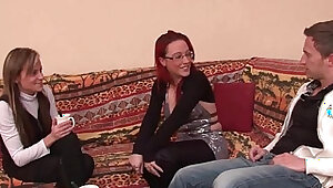 FFM Pretty amateur french milf hard deep anal penetration for her casting couch